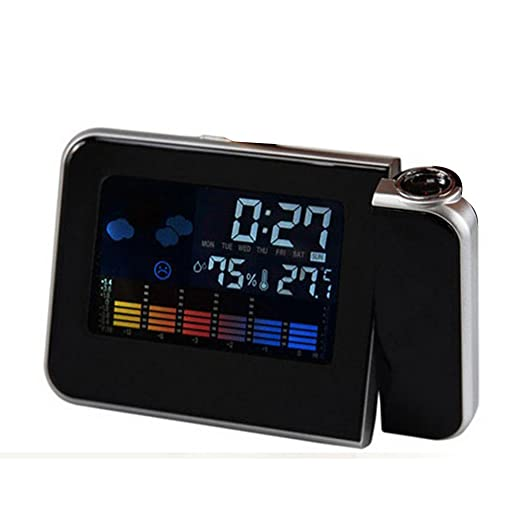 Ieasycan Digital clock LED Projector Projection Alarm Clock Weather Station Calendar home decoration