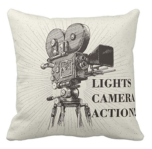 (Kissenday 18x18 Inch Lights Camera Action Director Motion Cotton Polyester Decorative Home Decor Sofa Couch Desk Chair Bedroom Car Television Scene Memory Hollywood Theater Square Throw Pillow Case)