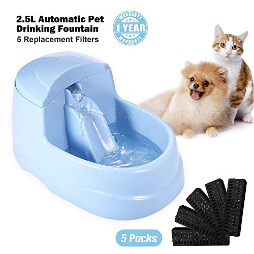 MuMu New Life Cat Drinking Fountain Automatic Dog Water Dispenser Dogs Drink Water Cycling Oxygen Mute Fountain Activated Carbon Filter Gift 5Pcs Water Filters 2.5L(0.66gal) (Blue)