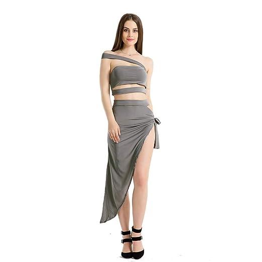 FAMLYJK Vestido Sexy de Mujer Crop Top Conjunto de Falda Vendaje ...