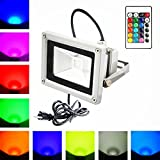 1PCS BESTKA Remote Control 10W RGB LED Flood light lamp,IP65 Waterproof Outdoor Color Changing LED Security Light, Wall Washer Lighting Stage Light with US 3-Plug -110V, STOCK IN USA