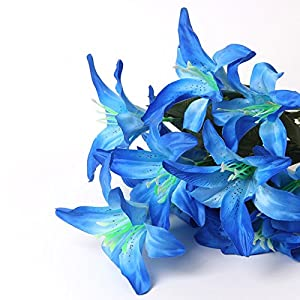 Zebery Artificial Flowers Shrubs for Decoration Faux Lifelike Plastic Pure Lily Flowers Plants Indoor Outside Home Garden Wedding Living Room Coffee Bar Decor (Blue, Universal) 1