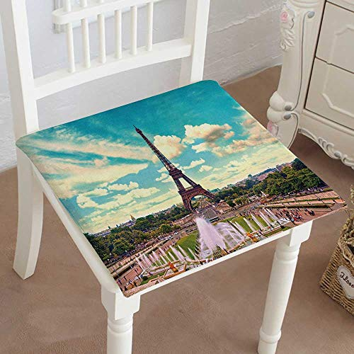 Mikihome Outdoor Chair Cushion Eiffel Tower and Fountain at jardins du trocadero Paris France Travel Comfortable, Indoor, Dining Living Room, Kitchen, Office, Den, Washable 30