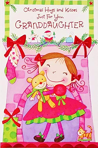 Christmas Hugs and Kisses Just For You Granddaughter Greeting Card -