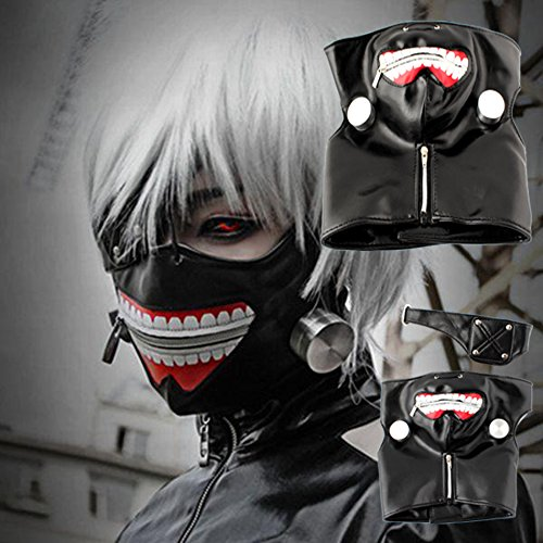 [Smartchef Cosplay Tokyo Ghoul Kaneki Ken Adjustable Zipper Belt Halloween Party Prop Mask] (Couples Scary Costumes)