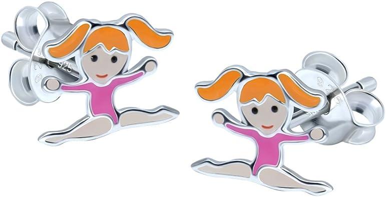 argent sterling Katy Craig Boucles doreilles pour filles rose gymnastique