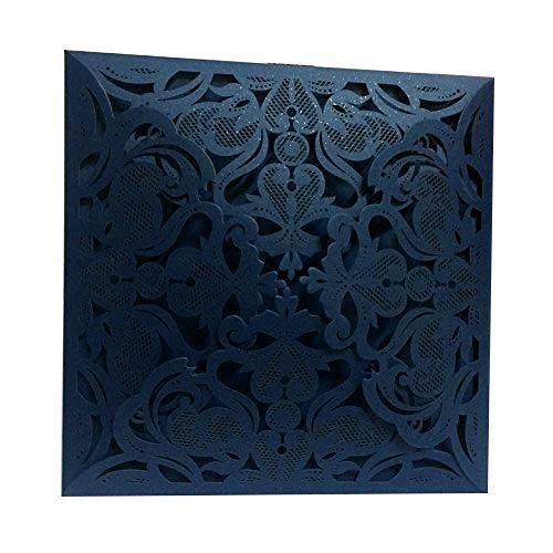 PONATIA 25 PCS MR & MRS Laser Cut Square Wedding Party Invitations Cards Set with Lace Flowers for Engagement Wedding Party (Royal Blue)