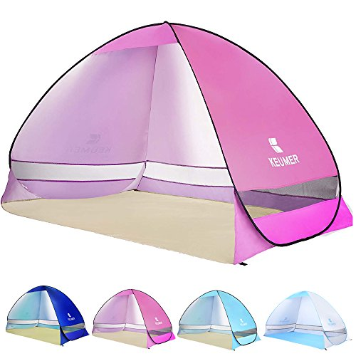 Ylovetoys Automatic Pop Up Beach Tent Sun Shelter Beach Shade Canopy Tent Anti UV Waterproof Beach Cabana Umbrella 3-4 Persons Instant Outdoor Camping Beach Tents for Outdoor Activities (Pink)