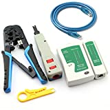 Maxmoral Ethernet Network Tool Kit - Network Wire Impact Punch Down Tool, Cable Connectors Crimper Tool, Network Cable Tester Detector,Cat6 RJ45 Ethernet Patch Cables,Network Wire Stripper