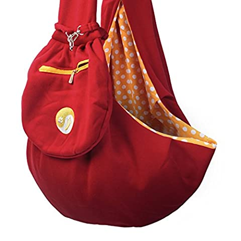 Timetuu BUY Hands-Free dog Carrier Sling, Zippered POCKET, Waterproof BAG, for Small Dogs, Cat Rabbit Pets Puppies Reversible double sided tote Pouch Normal SIZE (Red Orange White)