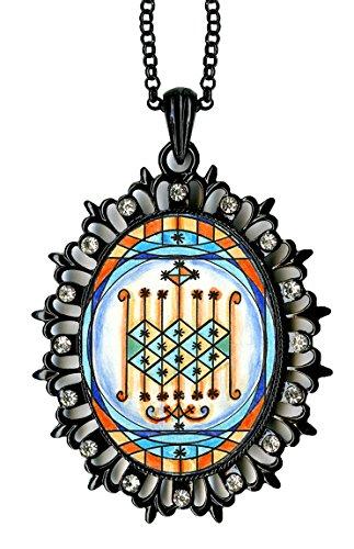 Ogun Veve Blessings of Power Magic Medallion Rhinestone Pendant (black) (Power Black Medallion)