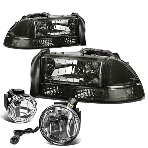 Dodge Dakota Corner Light - For Dodge Dakota/Durango 4pcs Smoked Headlight+Bumper Light Clear Corner + Pair of Bumper Driving Fog Light Smoked Lens