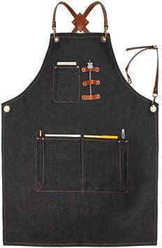 para cocinero jard/ín cer/ámica duradero para cocina manualidades taller Delantal de trabajo de tela vaquera resistente gris taller carpintero con bolsillos para herramientas garaje