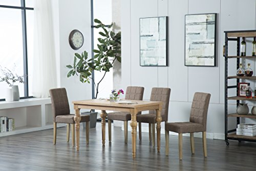 Oliver Smith - Roosevelt Collection - 5 Piece Dining - Table and 4 Chairs - Dinette Table Linen Chairs Set Antique Washed Oak 150264darkgrey Collection 5 Piece Dinette