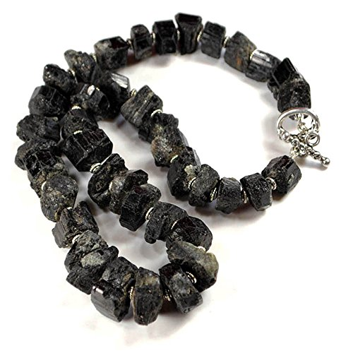 (Dark Black Tourmaline Nugget Necklace with Silver Tone Toggle 18