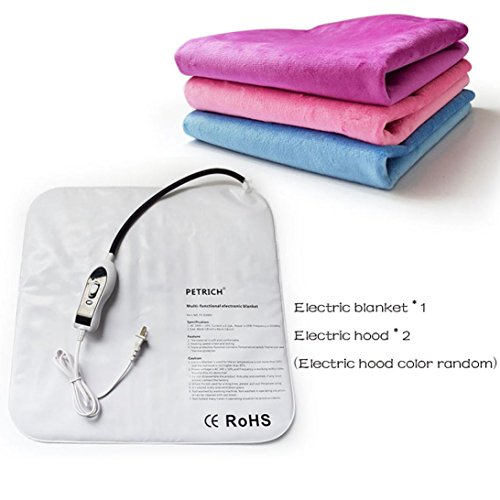 vmree Pet Heating Pad, Electric Heating Pad Waterproof Adjustable Warming Mat With Chew Resistant Steel Cord (B, 46CMx46 cm) (Chew 46)