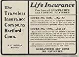 1903 Ad Travelers Life Insurance Options Given No Tontine or Speculation - Original Vintage Advertisement