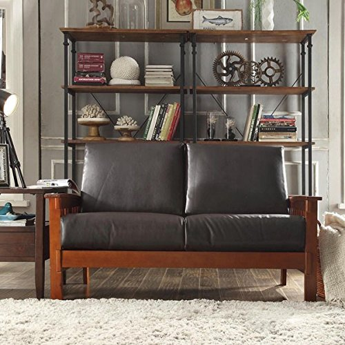 (Durable Tribecca Home Hills Mission-Style Oak Loveseat Perfect Addition to Any Room (Brown Faux Leather))