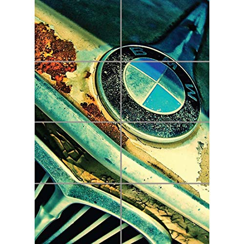 RUSTY BMW FRONT BADGE CAR GIANT WALL ART PRINT PICTURE POSTER G1273 (Bmw Pictures)