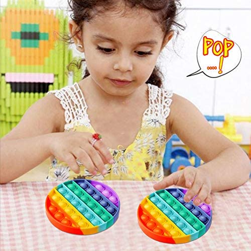 FIDGET TOYS PUSH POPPING BUBBLE FIDGET SENSORY TOY FOR AUTISTIC CHILDREN STRESS RELIEF TOYS AUTISM TOYS FOR SPECIAL NEEDS AD ADHD CHILDREN ANXIETY TOYS IN SCHOOL HOME OFFICE, RAINBOW COLOR