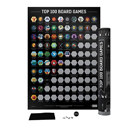 Top 100 Board Games Scratch Poster - Best Games of All Time Bucket List (16.7