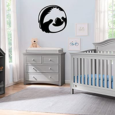 (2X) Nursery Series Sloth Face Sticker For Cribs, Walls, Dressers, And More! (Black) - Stickany