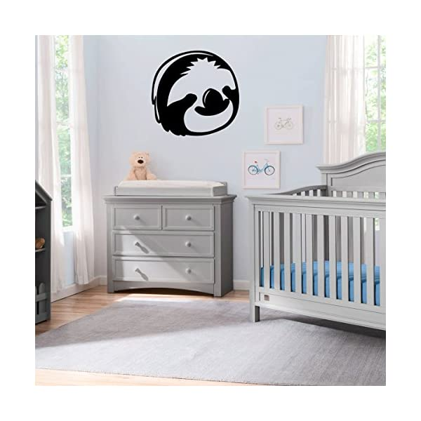 (2X) Nursery Series Sloth Face Sticker For Cribs, Walls, Dressers, And More! (Black) -