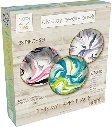 Hapinest DIY Clay Jewelry Dish Arts and Crafts Kit Gifts for Girls Kids Ages 8 9 10 11 12 Years Old