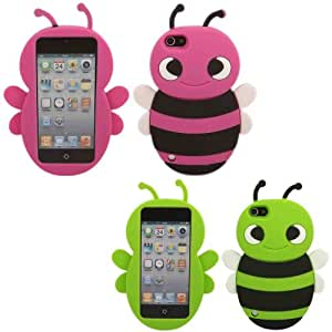 2 Pack Bumble Bee Silicona Caso Cubrir Concha Para Apple iPod Touch 5 5h Generation / Green And Pink