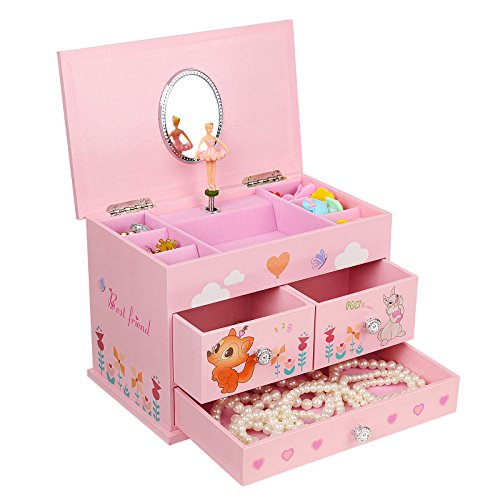 SONGMICS Ballerina Music Jewelry Box for Little Girls 3 Drawers Pink UJMC004