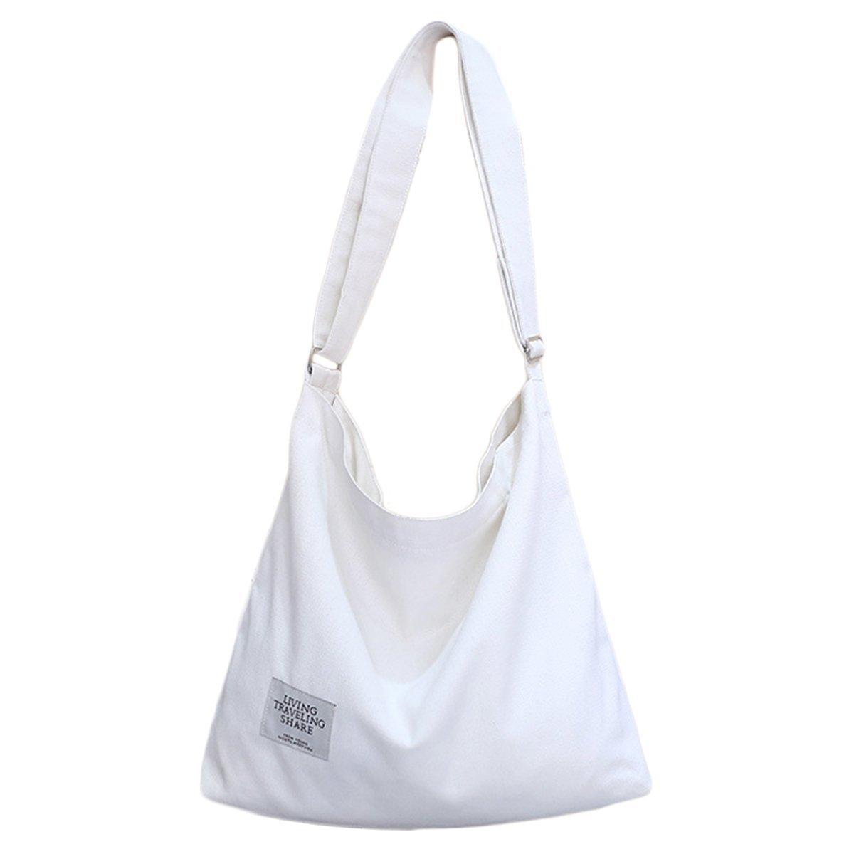 ZIIPOR Women's Canvas Crossbody Bag Casual Hobo Bag Shoulder Bag Shopping Bag (White)