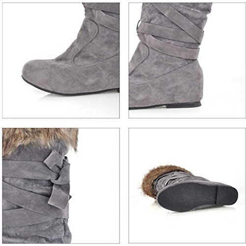 KALENDS 9 Size Winter Snow Boots Women Stylish and Comfortable Knee High boots Wedges Motorcycle Boots Grey 5zx2MPI9b1