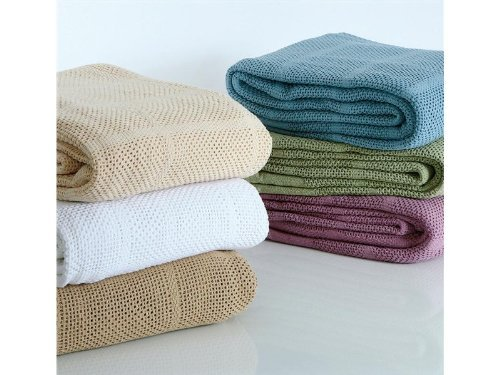 100% Cotton TWIN Thermal Blanket, GREEN