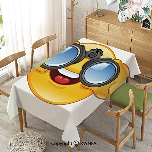 (Homenon Decorative Rectangular Table Cloth,Smiley Face with a Telescope Binoculars Glasses Watching Outside Cartoon Print,Spillproof Modern Printed,Yellow and Blue,55