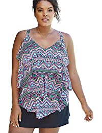 56f0ce08457e5 Roaman's Women's Plus Size Tiered-Ruffle Tankini Top - Multi Tribal, 30