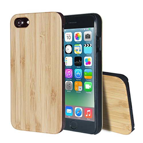 Joylink Wood Case,Non Slip Ultra Slim Pure Handcrafted Bamboo Cover TPU Rubber Unique Eco-Friendly Gift for Apple iPhone 7 8-Bamboo ...