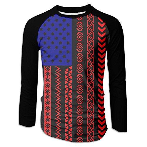 American Flag Aztec Men's Raglan Baseball T-Shirts Long Sleeve Baseball Tees - Address The Florida Mall
