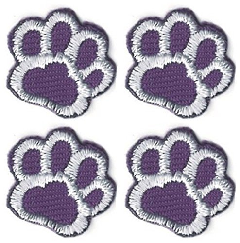 Lot of 4 Purple White Dog Animal Paw Print Embroidery Patch