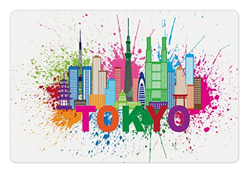 Lunarable Tokyo Pet Mat for Food and Water, Silhouette of Tallest Buildings and Structures of City Tokyo Tower Skytree Skyscraper, Rectangle Non-Slip Rubber Mat for Dogs and Cats, ()