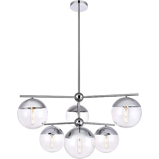 Amazon.com: Colgantes 6 lámparas con acabado cromado metal ...