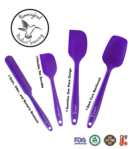 Hummingbird PS Silicone Spatula Set, Spatulas & Baking Spoon, Heat Resistant 450F, Stainless Steel Core, Non-Stick Silicone Rubber, BPA Free, Pro Food Grade - Versatile Cooking, Mixing - Purple by Hummingbird PS (Image #2)