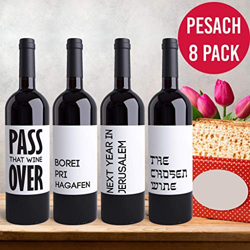 (8 Passover Wine Bottle Labels Printed Peel & Stick Wine Labels for Pesach Seder | Jewish Dinner Celebration L'Chaim Funny Labels Pairs Well With Matzah Next Year in Jerusalem)