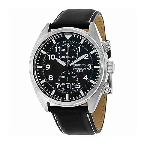 Seiko SNN231P2 Chronograph Men's Black Dial Black Leather Strap Quartz Watch (Chronograph Seiko)