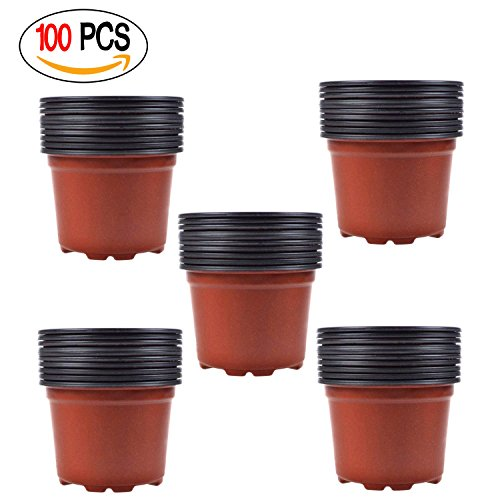 Coolrunner 3.5 Inch Plastic Flower Seedlings Nursery Pot/pots (100) by Coolrunner
