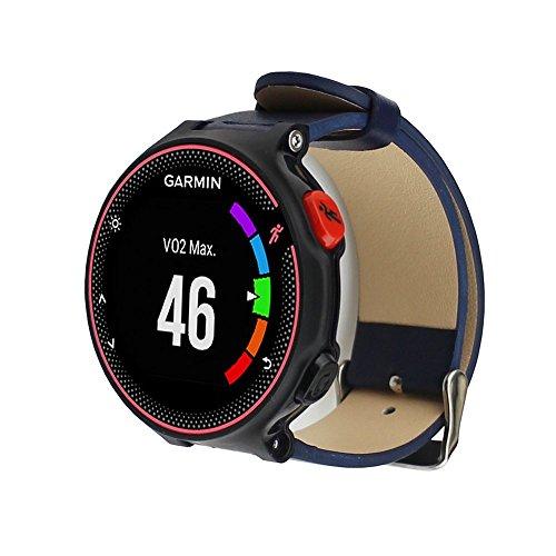 Pinhen Garmin Accessory Band Garmin Forerunner Replacement Band Genuine Leather Watch Strap Adjustbable Wrist Band for Garmin Forerunner 230 235 630 (Blue)