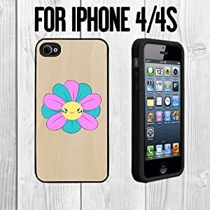 Cute Baby Flower on Wood Custom made Case/Cover/skin FOR Apple iPhone 4/4S - Black - Rubber Case + FREE SCREEN PROTECTOR ( Ship From CA) by mcsharks