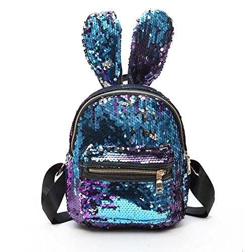Glitter Bunny - leomoste Women Cute Rabbit Ears Backpack Sequins Shoulder Bag Schoolbag Travel Daypack