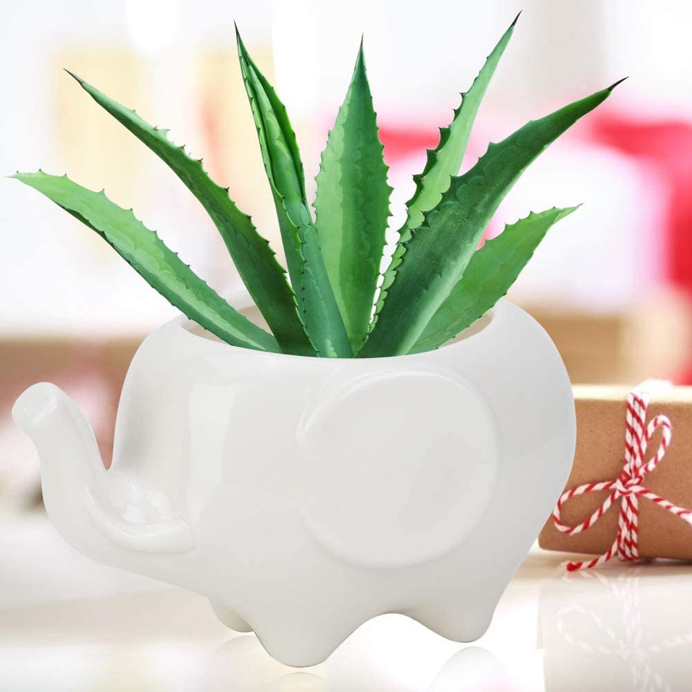 HERCHR Elephant-Shaped Flower Pot Flowerpot Decoration for Succulent Plants 1Pc Ceramic Resin Portable Vase Decor Ornament Gift for Home Living Room Bedroom Office Garden