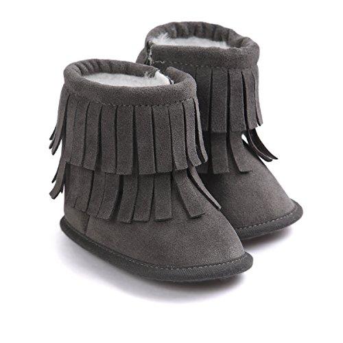Image of Kuner Infant Baby Girls Boys Tassel Plush Moccasins Non-Slip Prewalker Outdoor Warm Snow Boots 0-18Months