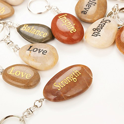 Inspirational Stones, Set of 72, Wholesale Lot, Engraved Natural River Rock Key Rings Keychains, Healing Stone Keychain Bulk Lot, Different Words Assorted Sayings (72 Pieces)